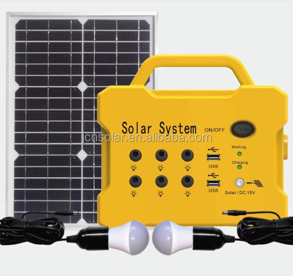 JCN Cheap Price 7-12A 12V 10W to 30W portable solar lighting DC system panel solar kit for house