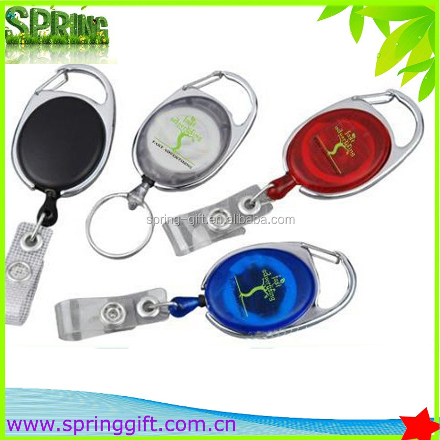 metal oval retractable badge holder with carabiner