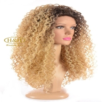 Top quality blonde curly wigs human hair afro wigs kinky curly front lace ,lace front wigs human hair dubai