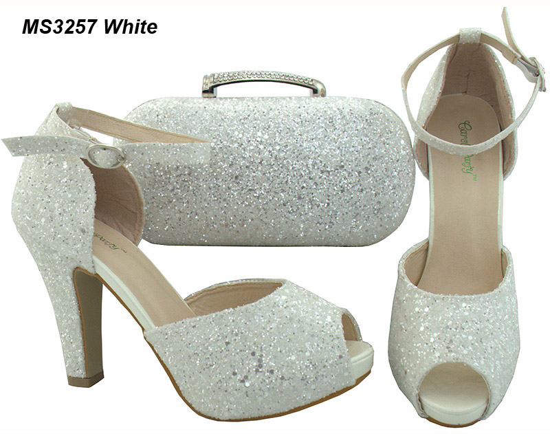 Guangzhou latest wedding ankle strap shoes evening nice lady high <strong>heels</strong> with bag set white