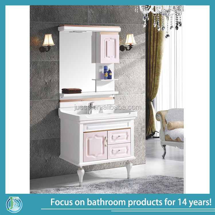 2017 cheap single sink bathroom cabinet with led