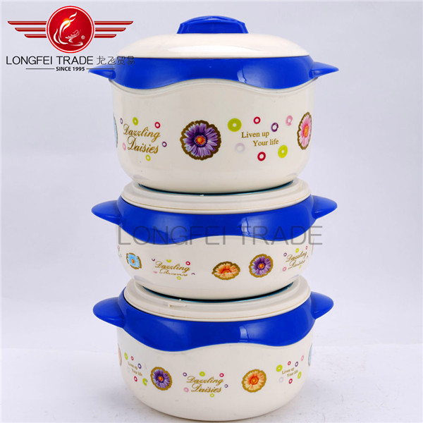 Household 3pcs insulated food warmer casserole/ plastic food container set