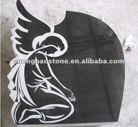 Black Granite Headstone With Angel