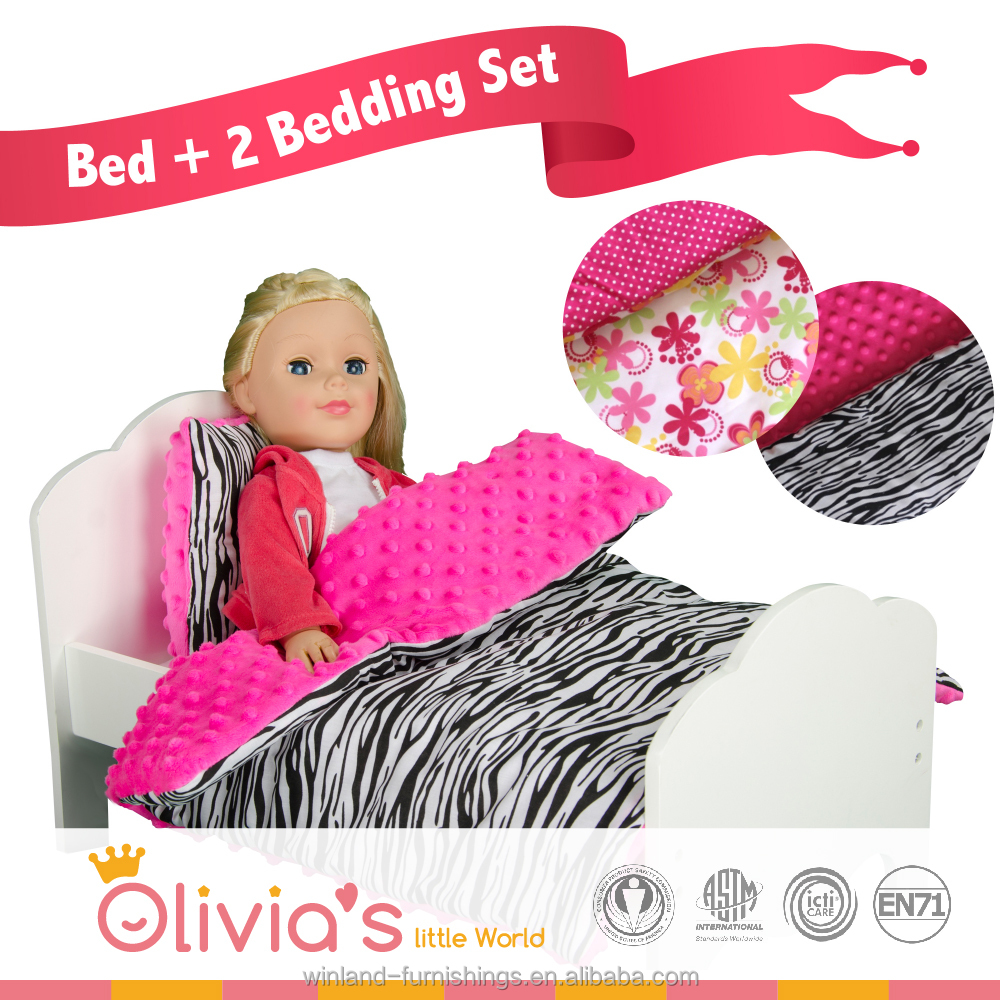 Olivia's Little World - Princess Classic Single Bed + 2 Bedding (Summer Flowers / Zebra Prints) | Wooden 18 inch Doll Furniture