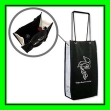 biodegradable material custom design printing wine bottle packaging fabric gift bags wholesale