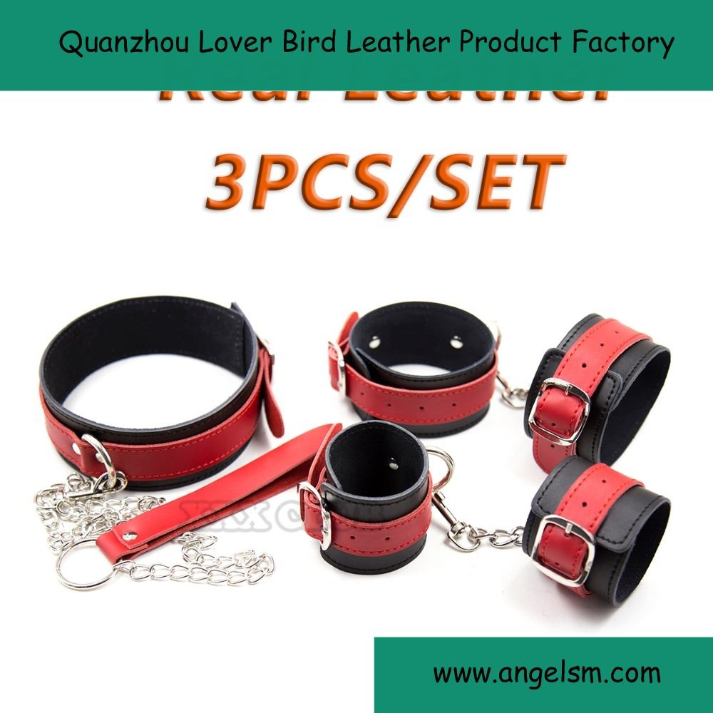3piece/ Set Real Leather Sex toys Bondage Restraint, Collar Wrists cuffs Ankles cuffs.sex products for couples slave femdom porn