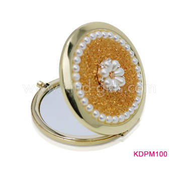 Wholesale high end round metal bling bling pocket mirror personalized compact mirror