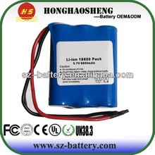 high quality rechargeable 3.7v 6600mah li ion battery pack 1s3p 18650 ul ce
