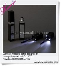 Eye mascara bottle with LED and mirror