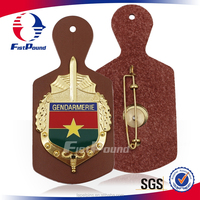 Professional hot sale metal with leather badge