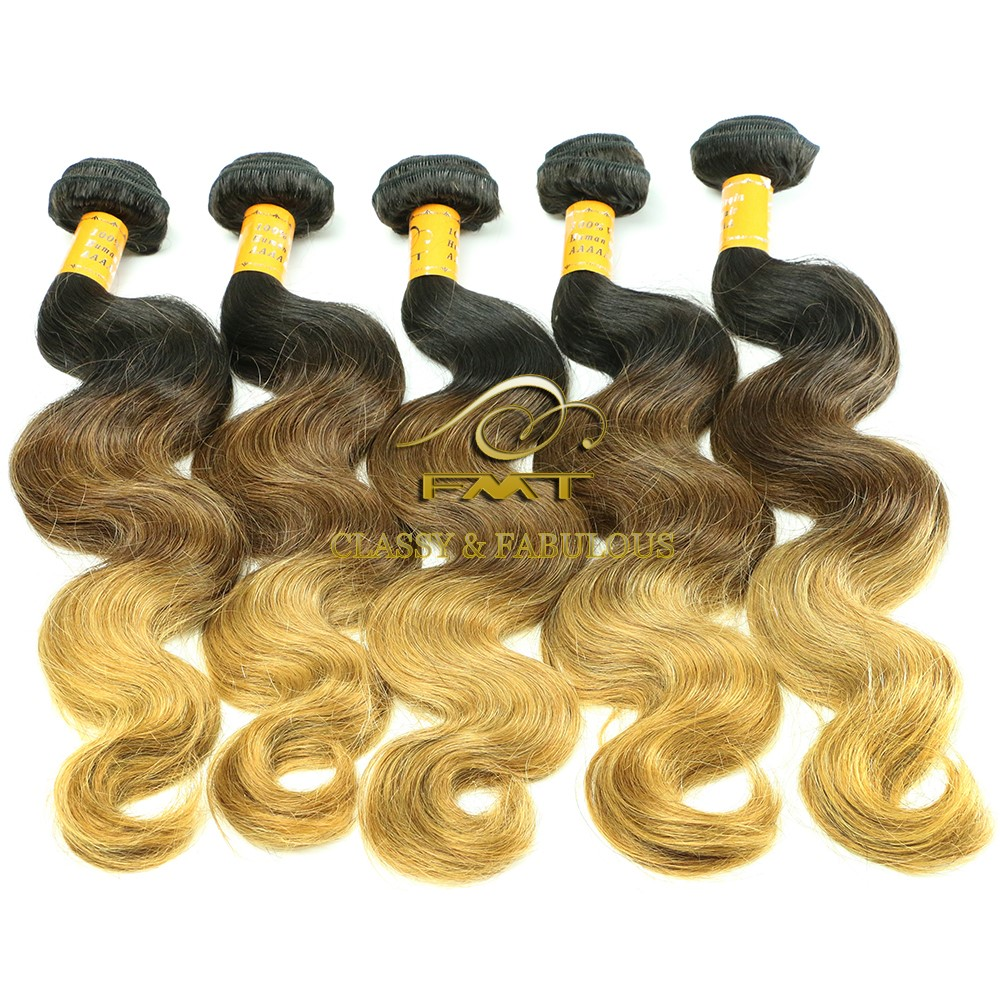 Hot Selling Brazilian Bulk Natural Ombre Blonde Curly Remy Hair Extension