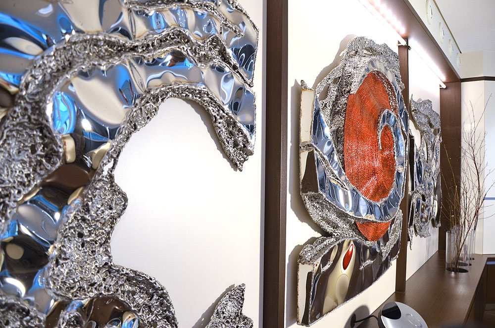 stainless steel art contemporary wall sculpture