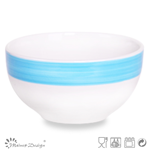 enamel bowl/deep white and blue bowl