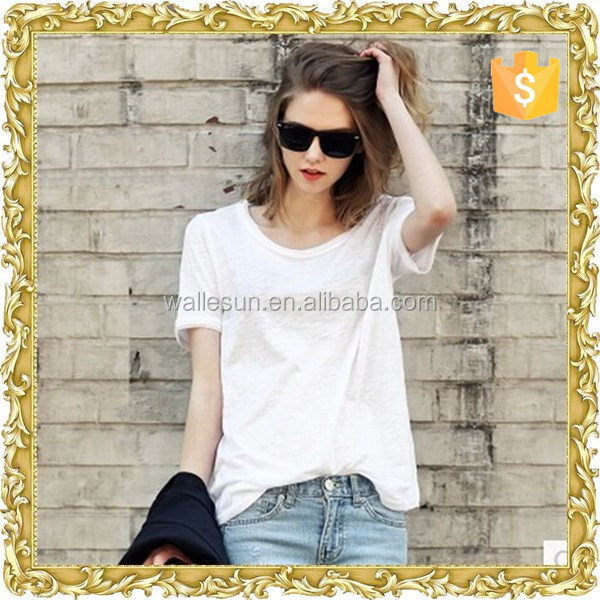Good quality cotton polyester tight oem women's v neck t-shirts