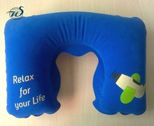 Inflatable PVC Travel Neck Pillow, Beach Pillow, Flocked Pillow