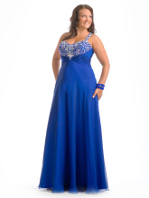 Graceful Royal Blue Free Shipping Evening Prom Dress For Fat Woman Girls Dress For Party 2014 New Fashion With Crystal