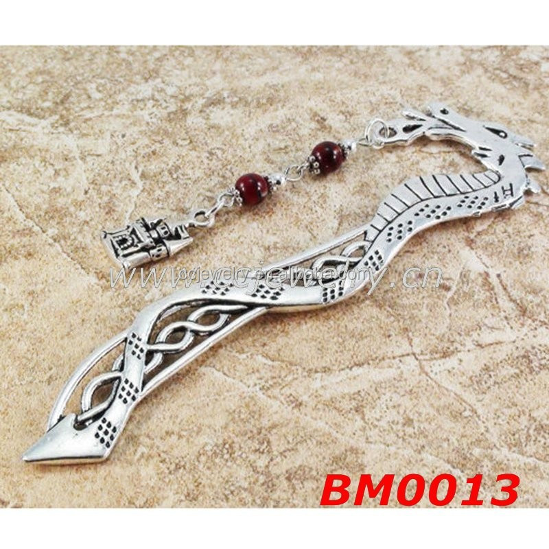 2015 new design natural stone castle charm beaded dragon korean bookmark wholesale