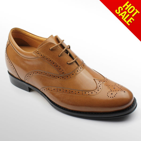 Genuine leather Hidden high heel shoes for men wholesale