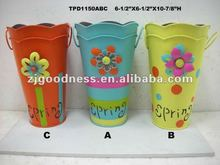 "10-7/8""H Metal Decorative Buckets /Garden Use"