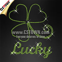 Twinkling lucky clover rhinestone iron on jean patches