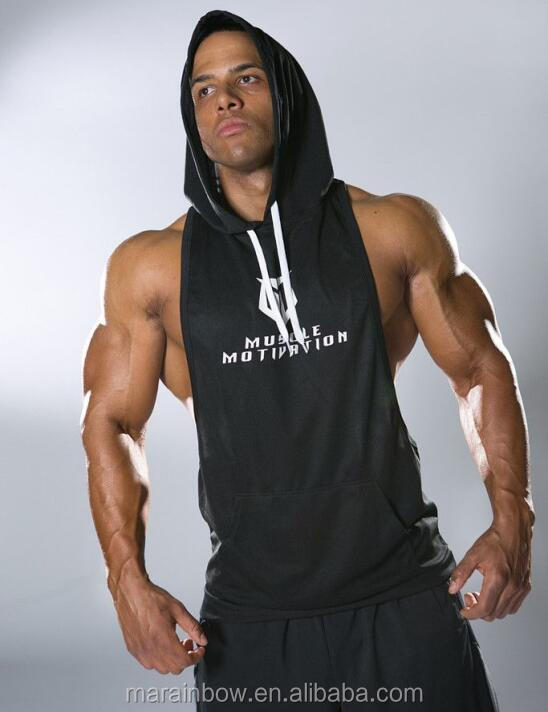 OEM Men's Black Racerback Stringer Hoodie with White String Gym Fitted Sleeveless Hoodie Deep Cut Pullover Hoodie Wholesale