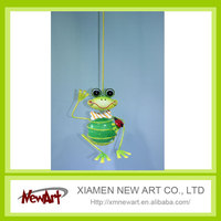 Metal frog wall art with led lights canvas print lighted candle picture