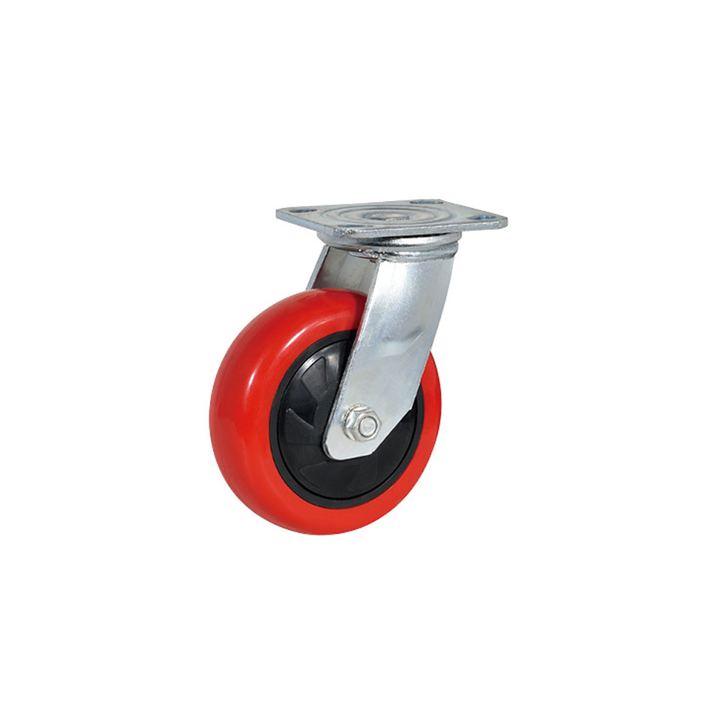 100mm industrial heavy duty PU trolley fix swivel with brake caster <strong>wheel</strong> manufacturer