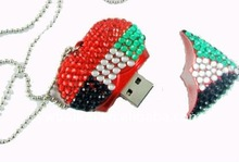 heart-shaped USB flash driver with bling bling reinstone