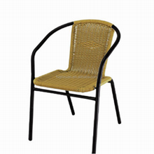 JX7006 Cheapest ! Steel frame technorattan furniture chair Terrace or balcony easy to store garden outdoor sling stacking chairs