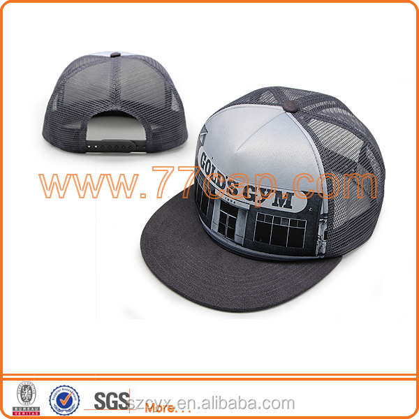 2016 Hot Selling Custom 5 panels Adult Cool Gray Sublimation Flat Brim Sports Snapback Foam Mesh Trucker Hat Caps Adjusted