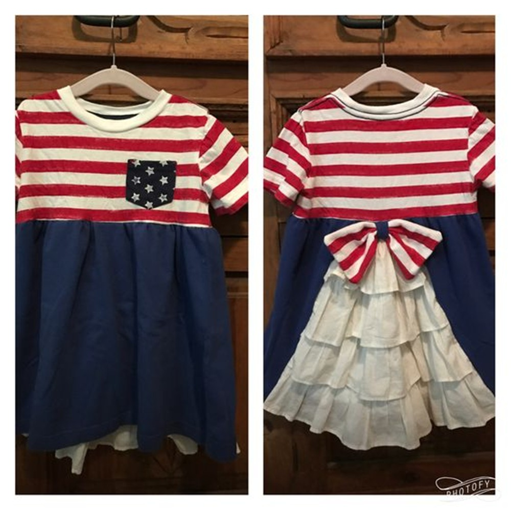CONICE NINI brand wholesale 4th of July blue and white stripe boutique toddlers dress