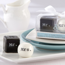 Mr and Mrs Square and round ceramic salt and pepper shaker bridal shower door gift