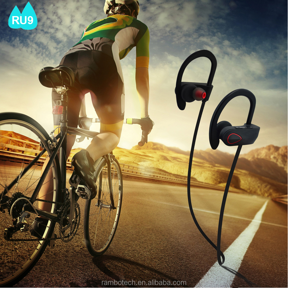 Best Quality V4.1 Waterproof Wireless Bluetooth Sport Headphone with microphone RU9