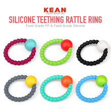 New design safety soft colorful bpa free silicone ring football rattle