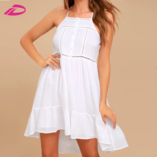 2017 Women Clothes Spaghetti Strap Dress Back Cross White Dress