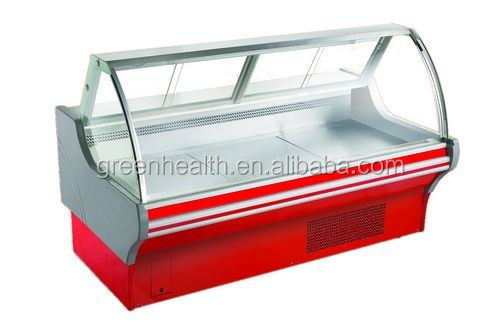 Red/white used meat display refrigerator ,0-10deg deli display refrigerator for shop