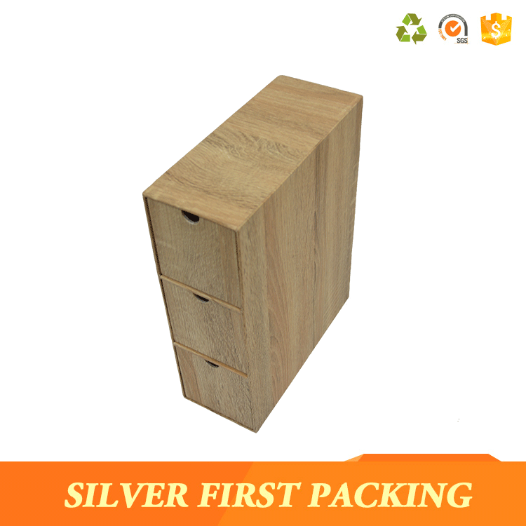 Fake wood grain cardboard stationery storage box custom made boxes