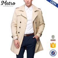 2016 Custom Mens Sand Classic Double Breasted Trench Coats