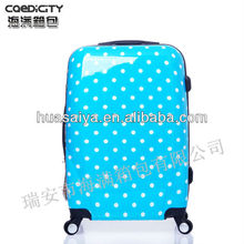 2013 hot selling dot printed PC trolley luggage with retractable wheels