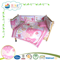 Pink love elephant printing softextile baby bedding crib sets for baby girl
