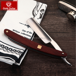 carbon steel barber cut throat straight razor WOODEN HANDLE