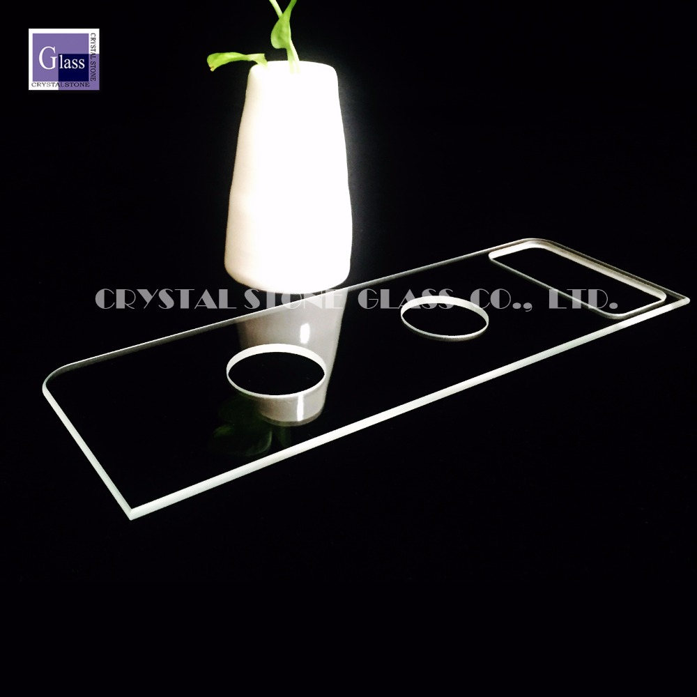 custom tempered glass/cut square hole glass