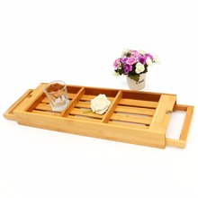 Bamboo Bathroom Bath Caddy Bathtub Tray Support Holder Over Rack Soap Wine Glass