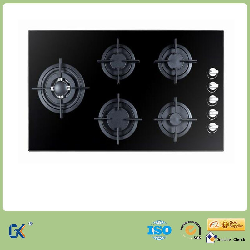 Household Easy Cleaning Tempered Glass Tops Built In 5 Burner Gas Range