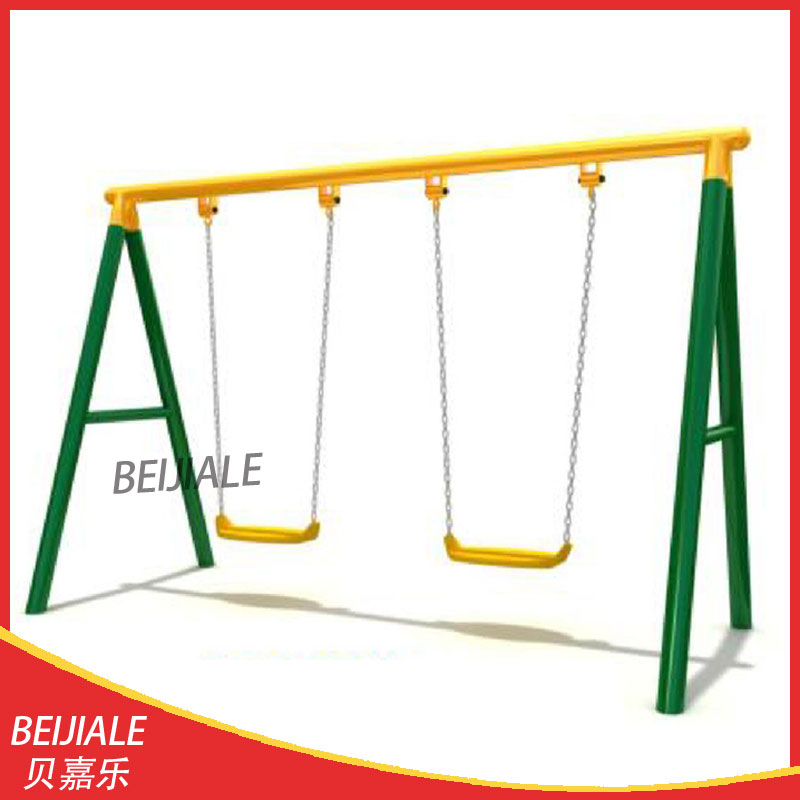 Kids outdoor garden iron swing set with two seats