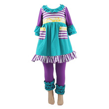 2017 hot sale clothing Outfits Children Kids Clothing For Sale Cheap China Christmas Strip Ruffle Bulk Wholesale Kids Clothing