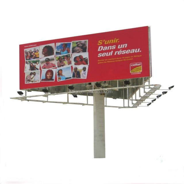 Outdoor three faces advertisement steel structure billboard