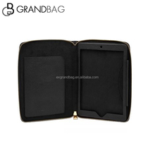 new design top grain leather clutch bag zipper case / cover for ipad
