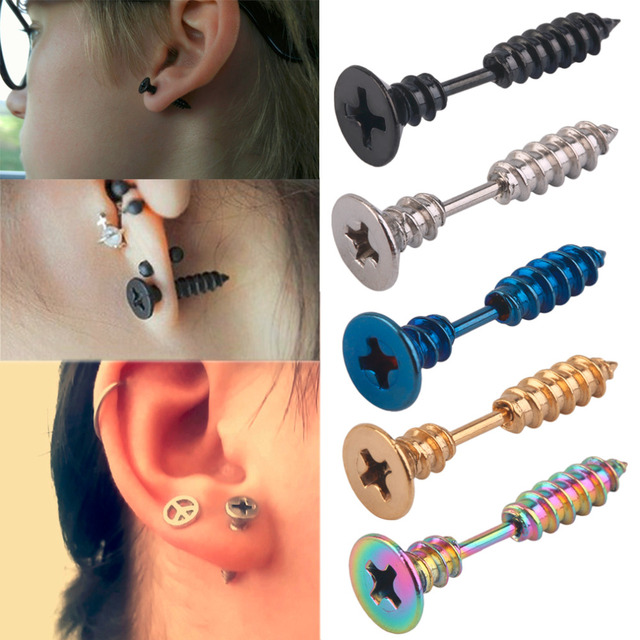 1PC Fashion Stylish Men Women Unisex Stainless Steel Whole Screw Stud Earring Punk Ear Stud Fast
