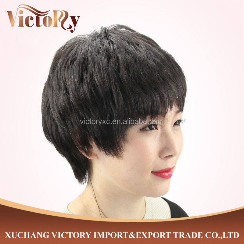 Hot selling fashion style short human hair wig for black women, stylish artificial wig, wholesale aliexpr